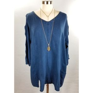 Soft Surroundings Blue Gabby Gauze Tunic Top XL